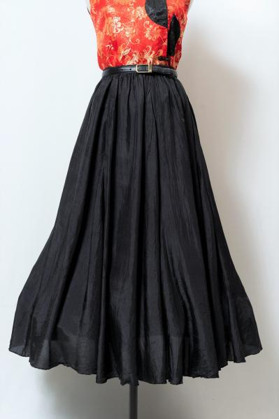 Black Silk Circular Skirt