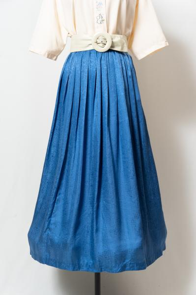 Pleats Blue Gloss Skirt
