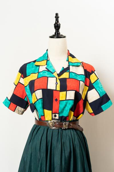 Colorful Box Open Blouse