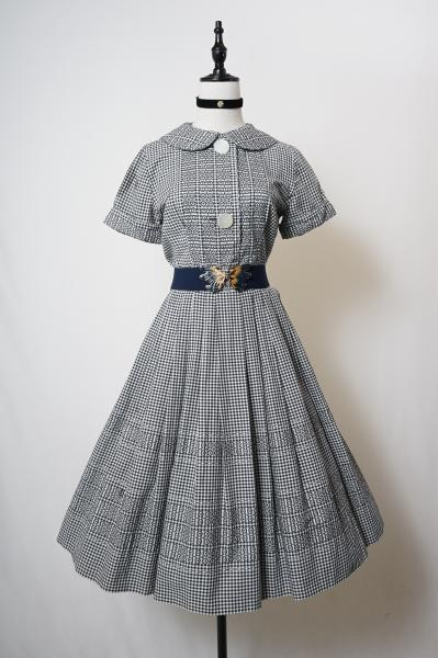 50's Gingham×Embroidery Monotone Dress