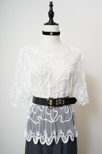 Ribbon Tape Embroider Tulle Lace Tops