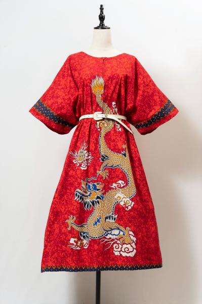 Made In Euro Dragon Print Red Dress