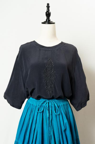 Made In Euro Embroidery Long Silk Tops