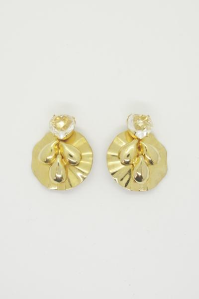 Heart clear Stone×Gold Earrings