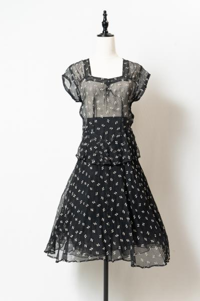 40's Flower×Black Lace Dress