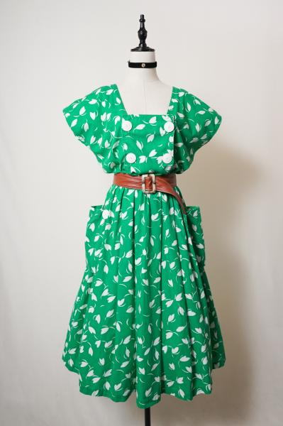 Petal pattern Green Retro Dress
