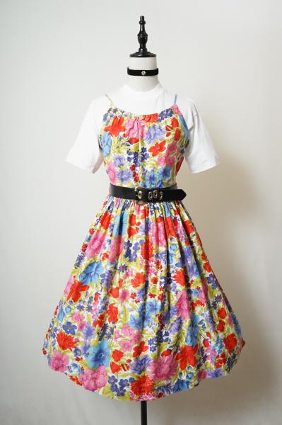 50's Colorful Flower Camisole Dress