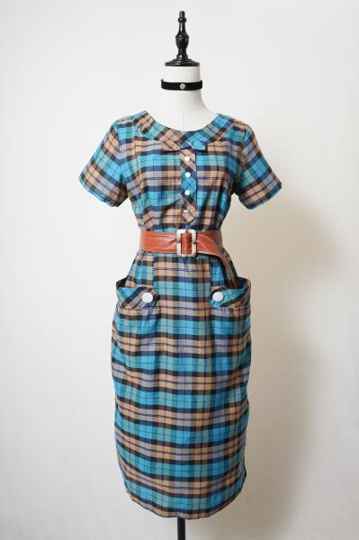 50's Blue×Brown Check Pattern Girly Dress