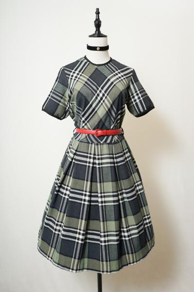 50's Check Pattern Classical Tuck Dress