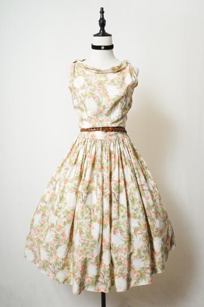50's Botanical Pattern Classical Silk Dress