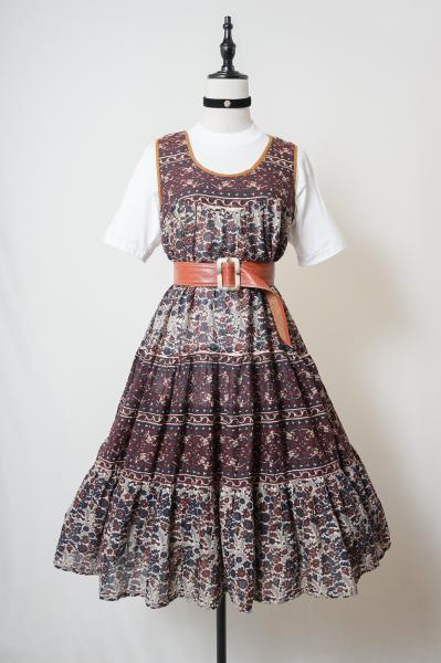 Dark Flower Pattern Indian Cotton Dress