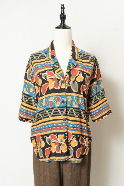 Hibiscus Pattern Open Collar Blouse
