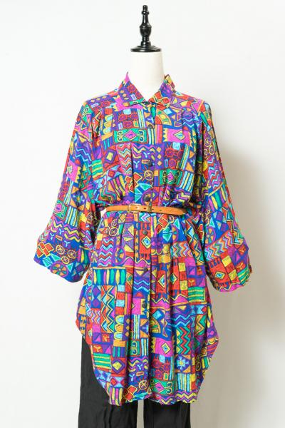 Peiting Pattern Long Blouse
