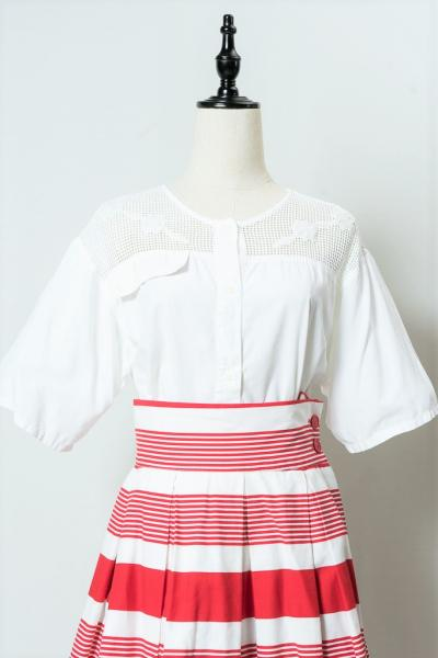 Made In Euro Mesh Design White Blouse