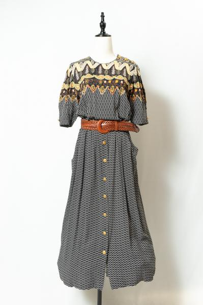Retro Patter Long Dress