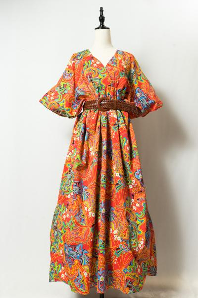 Colorful Damask Pattern Ethnic Dress