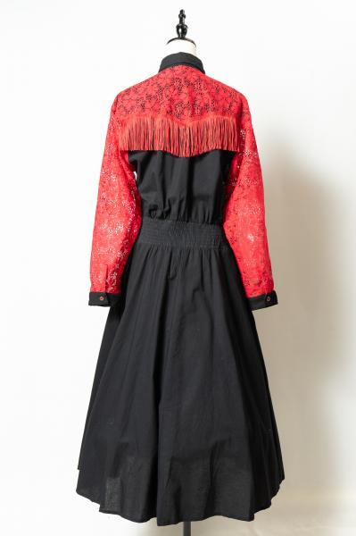Lace Shoulder×Western Desing Dress
