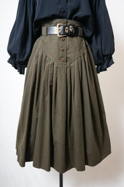 Made In Euro Dark Olive Pleats Skirt