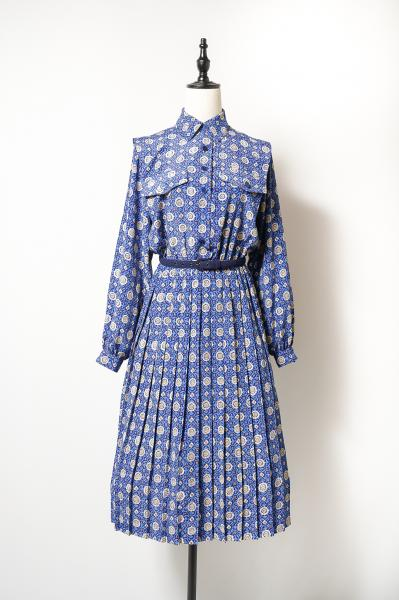 LESLIE FAY Retro Pattern Blue Dress