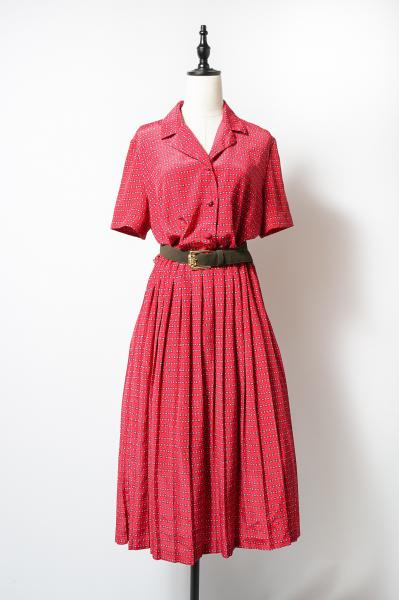 LESLIE FAY Retro Tile Pattern Red Dress