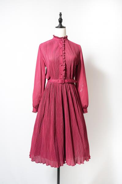 Pleats×Frill Design Wine red Dress