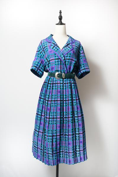 Design Check Pattern Open Collar Dress