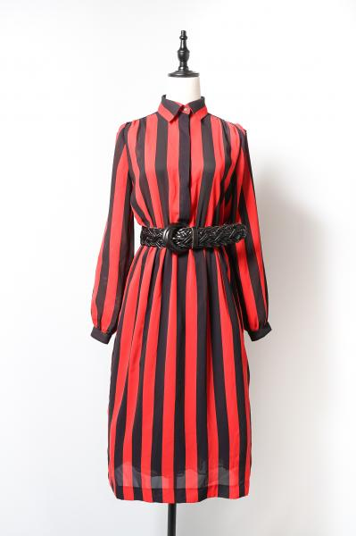 Black×Red Stripe Sheer Dress