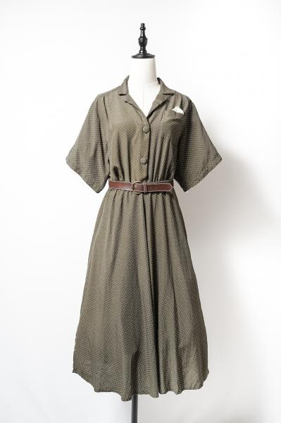 Pin dot×Olive Retro Dress