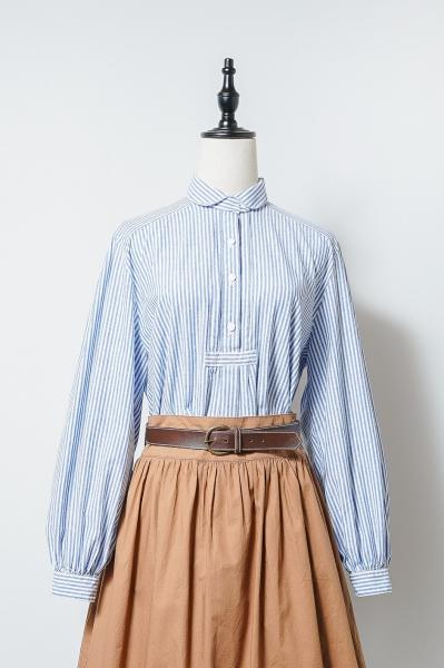 Made In Euro Blue Stripe Tyrol Blouse