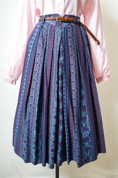 Multi Flower Stripe Dark Blue Skirt
