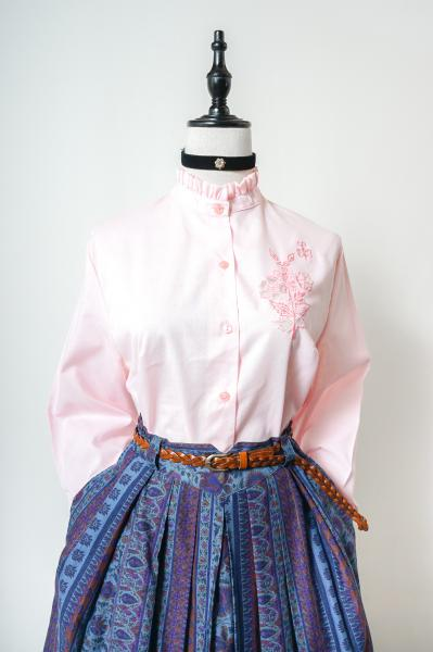 Made In Euro Flower Embroidery Pastel Pink Blouse