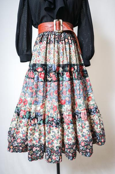 Multi Flower Colorful Tiered Skirt