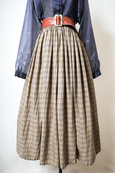 Check Pattern Beige Long Skirt