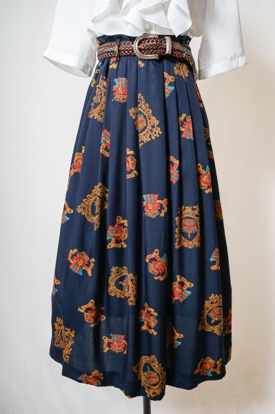Emblem Pattern Retro Navy Skirt