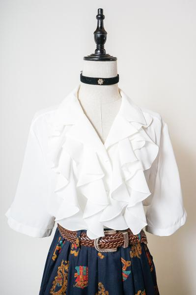 Frill Design White Blouse