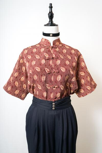 Retro Pattern Brown China Blouse