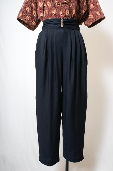 Waist Design Black Easy Pants