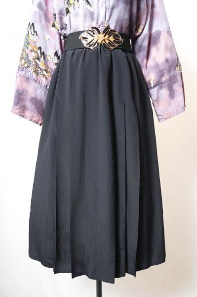 Made In Euro Crinkle Pleats Black Skirt