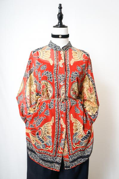 Oriental Pattern Red Sheer Blouse