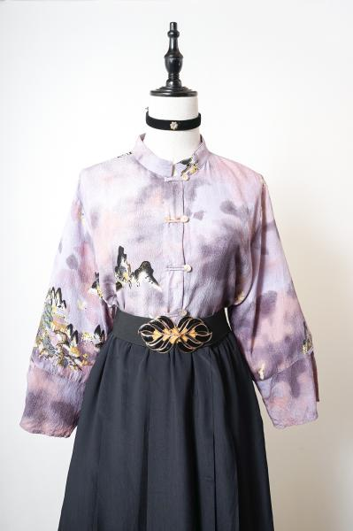 Oriental Unique Pattern Lavender China Blouse