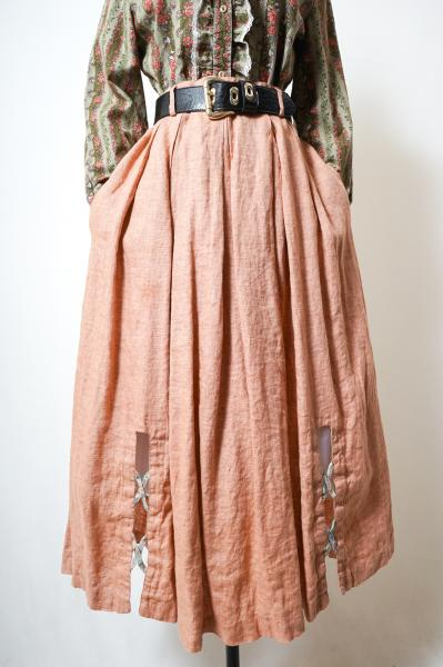 Made In Euro Cross Design Slit Linen Tyrol Skirt