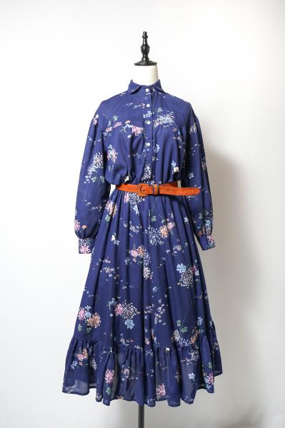 Flower Pattern Frill Design Navy Dress