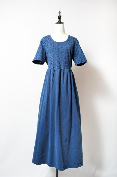 Botanical Embroidery Smokey blue Dress