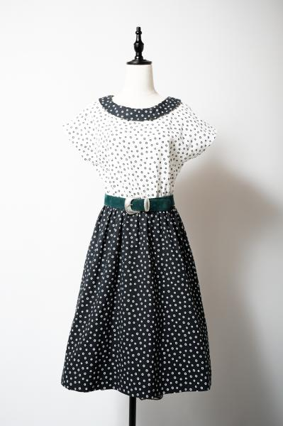 Art Ring dot Pattern Monotone Dress