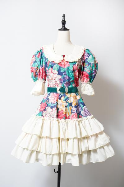 Frill×Tiered Flower Pattern Dress