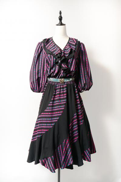 Bicolor Tile Stripe×Black Crazy Design Dress