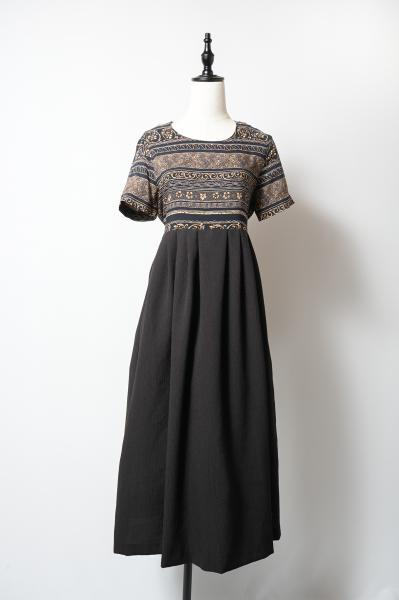Oriental Pattern×Black Ethnic Dress