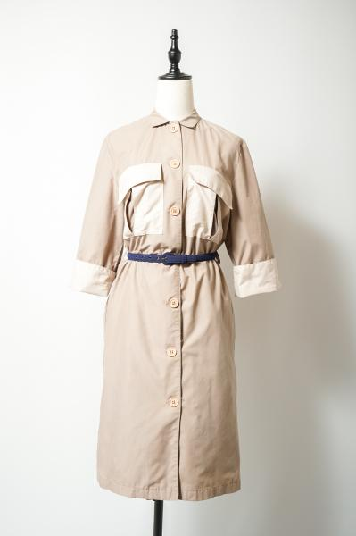 Bicolor Beige Box Shirt Dress