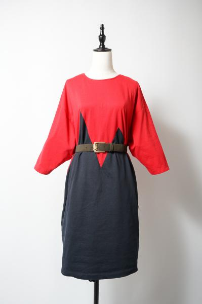 Red×Black Crazy Design Short Dress
