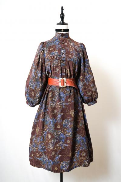 Classical Flower Pattern Brown purple Dress
